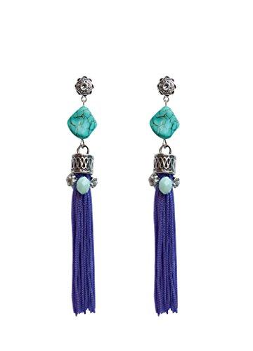 Pendientes de flecos morados con piedra azul turquesa y cristal aguamarina. Accesorio artesanal y edición limitada. Perfecto para invitada bodas y regalos.
