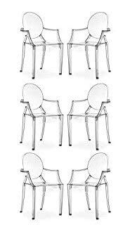 Milani Home s.r.l.s. Set di 6 Sedie Moderne di Design in Policarbonato Trasparente per Sala da Pranzo Cucina Ufficio Ristorante Bar