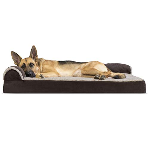 Furhaven Pet Dog Bed - Deluxe Memory Foam Two-Tone Plush Faux Fur & Suede L Shaped Chaise Lounge Living Room Corner Couch Pet Bed w/ Removable Cover for Dogs & Cats, Espresso, Jumbo