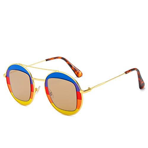 Yjdkd Mode zonnebril, Retro gekleurde zonnebril, Paren Ronde Hippie Brillen, persoonlijkheid metalen frame outdoor Mannen Vrouwen rijden Reizen Vissen Golf, C2