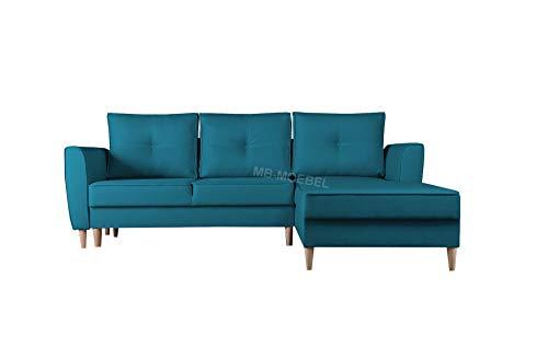 mb-moebel Ecksofa mit Schlaffunktion Eckcouch mit Zwei Bettkasten Sofa Couch Wohnlandschaft L-Form Polsterecke Theo (Malmo 85, Ecksofa Rechts)