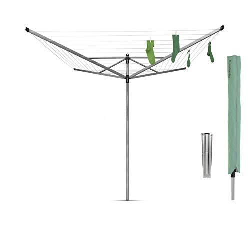 Brabantia Lift-O-Matic Tendedero de Jardín con Soporte y Funda, Acero Inoxidable, Gris Metalizado, 60 m de cuerda