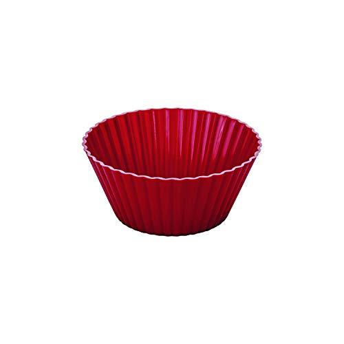 Conjunto de Formas para Mini Bolos de Silicone 12 Peças Euro Vermelho
