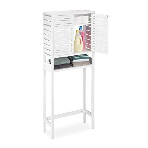 Relaxdays, weiß Waschmaschinenschrank Bambus, Überbauschrank, Toilettenregal, WC, mit Schranktüren, HBT 165 x 66 x 26 cm
