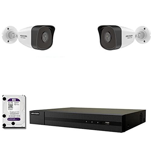 Kit Vidéo Surveillance Pro IP HIKVISION : 2X Caméras POE Tubes IR 30M 4 MP + Enregistreur NVR 4 canaux H265+ 1000 Go
