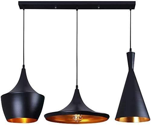 Restaurante de la lámpara pendiente de oficina sala colgante, dormitorio de la lámpara de mesa lámpara de suspensión Lámparas elegante Negro y Oro Diseño de aluminio de altura ajustable E27 * 3 L70CM