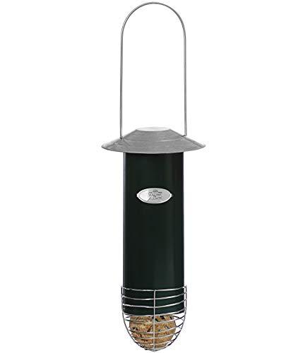 Dehner Natura Wildvogel-Meisenknödelautomat, Ø 7.5 cm, Höhe 26.5 cm, Metall, Dunkelgrün