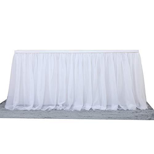 Faldón romántico de tul para decoración de mesa para fiestas, fiestas de cumpleaños, fiestas de bienvenida al bebé, decoración de bodas, 183 x 77 cm