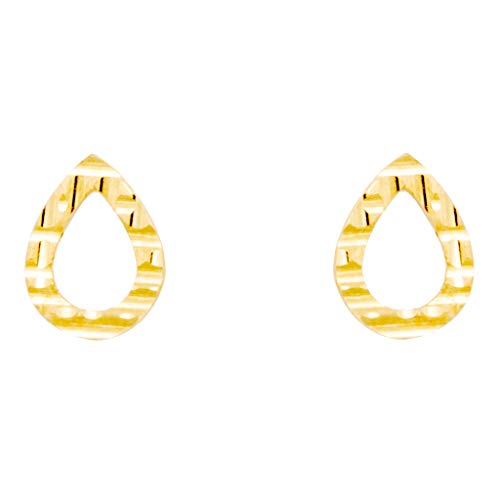 Pendientes con forma de gota rayada y calada de oro amarillo (375/1000)