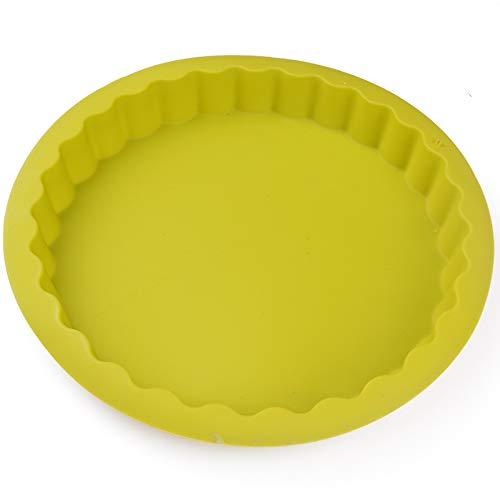 GJ Runde Silikon-Kuchenform, Pudding, Mousse, Kuchen Backform, Silikon-Hohl-Antihaft-Schimmel,Gelb,23cm