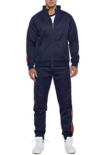 JX-PEP Conjunto de chándal para hombre, 2 piezas, con cremallera completa, para correr, gimnasio, con bolsillos, sudadera y pantalones, color azul, XL