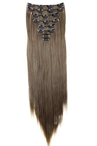 PRETTYSHOP XXL 8 pièces SET tête entière Clipser dans les extensions Extension de cheveux postiche résistant à la chaleur lisse 60 cm Ombré blond brun # 8T25 CES19