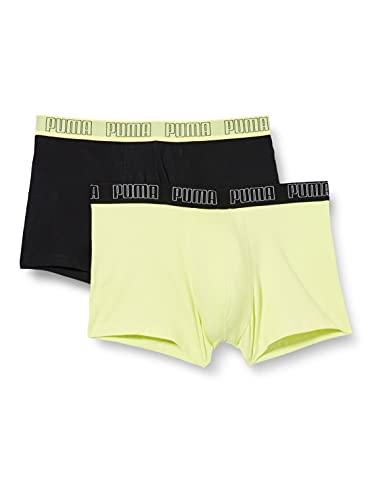 PUMA Basic Men's Trunks (2 Pack), Nero/Giallo, L (Pacco da 2) Uomo