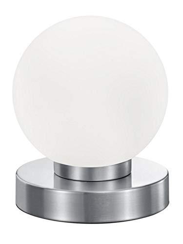 Reality Leuchten Tischleuchte Prinz R5400-07, Metall Nickel matt, Glas weiß, E14 exklusive, 4-fach Touch Dimmer