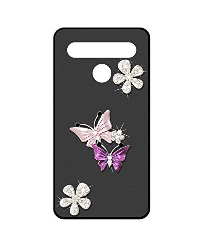 Sunrive Case For LG K71, Luxury Bling Glitter Sparkle Crystal Diamond Ultra Slim matte 3D Soft Premium TPU Silicone Back Rubber Bumper Protector Cover Case(A6 butterfly 1)