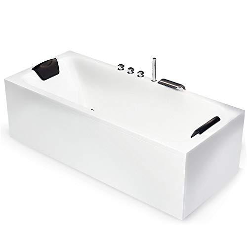 BAQUADE Badewanne 170 x 70 cm Acryl-Badewanne Komplett-Set mit Schürze Untergestell Ab-Überlauf + Wannenrandarmatur + Nackenkissen Wanne mit optionalem Zubehör wie LED Beleuchtung Modell: Bonn