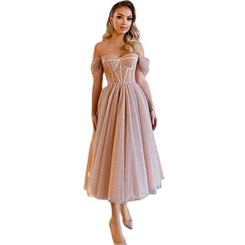 TMOYJPX Vestidos de Fiesta Largos de Noche Gasa de Novia Elegantes, Ropa de Vestido Mujer Comunion para Bodas Cóctel Dama de Honor (Albaricoque, M)