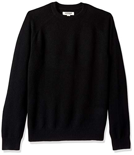 Amazon Brand - Goodthreads Men's Lambswool Stripe Crewneck Sweater, Black, Large