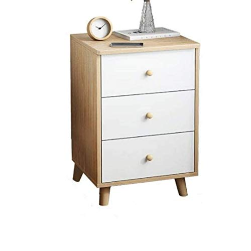 JJZXD Wooden Bedside Table, 3 Drawers Large Storage Space, Solid Structure and Stable Frame, Suitable for Bedroom