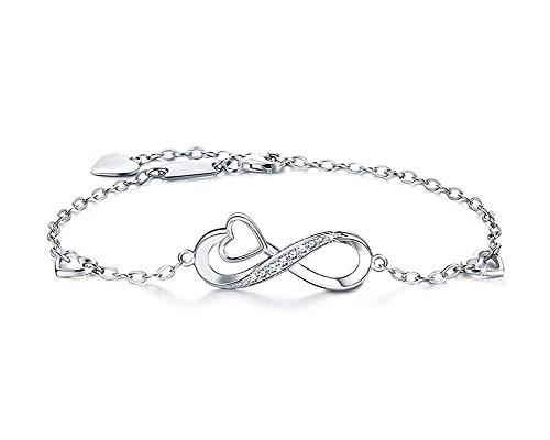 Pulsera de plata de ley con forma de corazón infinito, para mujeres, mamá, esposa, novia, novia,