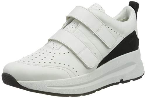 Geox D BACKSIE B, Zapatillas Mujer, Blanco (White/Black C0404), 40 EU