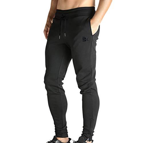 Broki - Pantaloni da jogging da uomo, con cerniera, stile casual, per palestra, fitness, vestibilità aderente, colore: nero Nero S