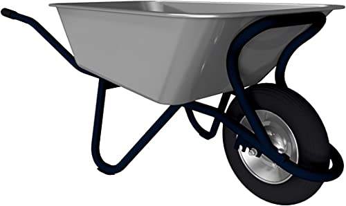 Profi-Schubkarre mit Muldenstütze, mit Luftrad, Tiefmulde feuerverzinkt mit 90 l Fassungsvermögen, Gestell RAL 8017 tauchlackiert