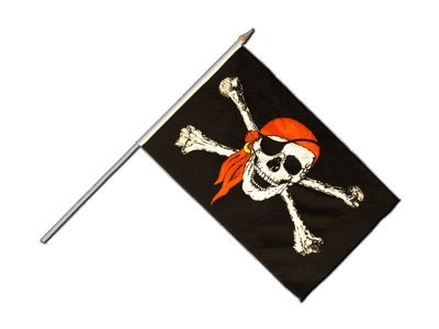 Flaggenfritze® Große Stockflagge Schwenkflagge Pirat mit Kopftuch 60 x 90 cm
