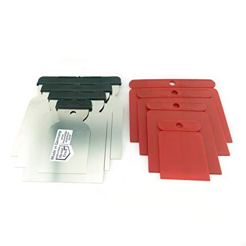 8tlg Set Japanspachtel 4 x Edelstahlblatt rostfrei säurefest + 4 Kunststoffblatt fexibel Flächenspachtel 50-80-100-120 mm Breite in Profiqualität