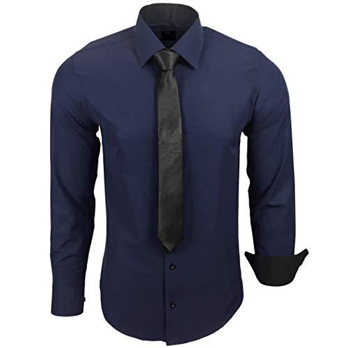 Baxboy 444-BK Herren Kontrast Hemd Business Hemden mit Krawatte Hochzeit Freizeit Fit, Farbe:Marine, Größe:S