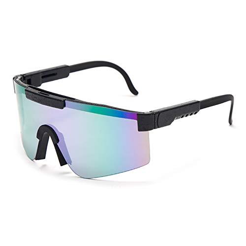 SXRAI Gafas de Sol Mujer Hombre Marco Azul Lente espejada Gafas de Sol Deportivas a Prueba de Viento para Hombre/Mujer Uv400,C2