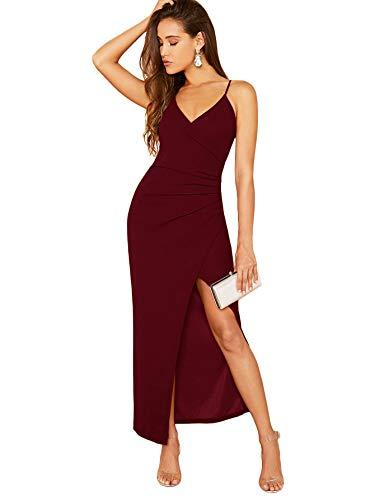 SOLY HUX Damen Ärmellos Partykleid Elegant Sommerkleid Spaghettiträger Maxikleid V-Ausschnitt Cami Kleider mit Schlitz Bordeaux S