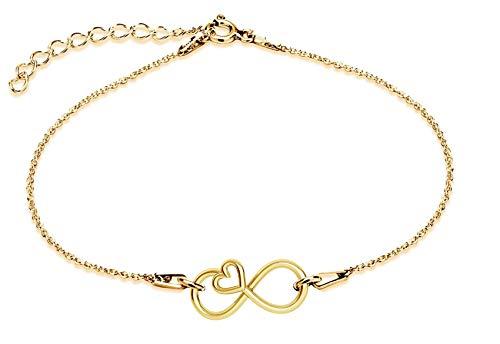 *Beforya Paris* - Infinity - Pulsera ajustable con corazón - De plata de ley 925 / chapada en oro de 24 K - Preciosa pulsera con bolsa de regalo y caja de regalo