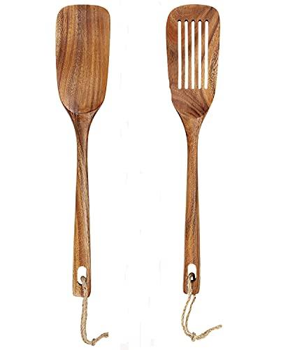 ターナー へら 2点セット 天然木製 紐つき フライ返し キッチンツール スパチュラ 炒めへら クッキングツール 調理 製菓器具 おしゃれ 台所用品