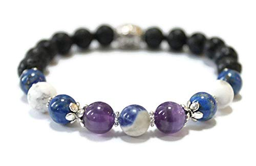 Lava and Gemstone Aromatherapy Wellness Bracelet with Amethyst, Sodalite, Howlite for Positive Energy, Focus, Clarity, Essential Oil Diffuser, in Silver, Bronze, Copper or Gold