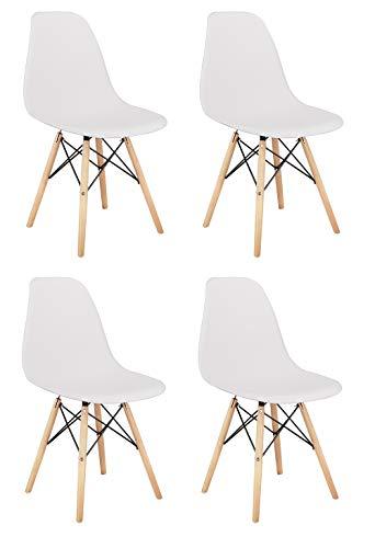 Y&D HOME Ensemble de 4 pièces, Design Vintage, Pieds en Bois massif, Chaise Longue Moderne et élégante, Chaise de Cuisine, Chaise de Salle à Manger, Chaise de Bureau, Blanc