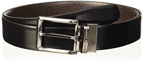 Tommy Hilfiger Men's Leather Belt (TH/CARMELOREV0103M_Black/Brown_Medium)