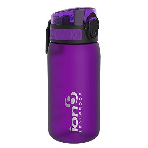 Ion8 - Borraccia per bambini a prova di perdite, senza BPA, Bambino, Borraccia, I8350FPUR, Viola, 350 ml