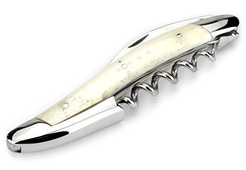 Forge de Laguiole - Kellnermesser Frankreich - Griff Knochen - Edelstahl glänzend - Original mit Zertifikat