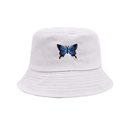 DYHF Sombrero de pescador con bordado de mariposa, sombrero de sol de playa, moda unisex, gorro de pescador plegable antiquemaduras para hombre, mujer, estudiante, color blanco