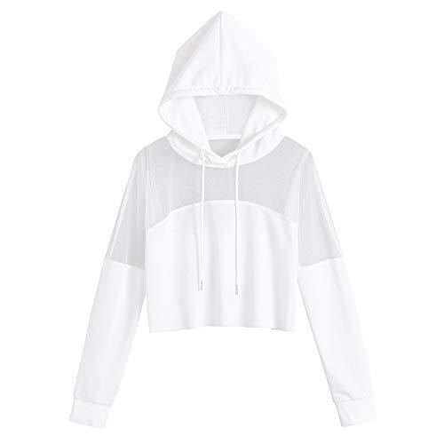 HIRIRI Women Long Sleeve Mesh Patchwork Workout Hooded Shirts Athletic Long Sleeve Running Crop Hoodie Sweatshirt White