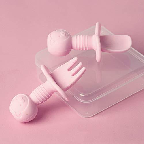 Canghai Juego de cubiertos de silicona suave para bebé, con caja de almacenamiento, color rosa