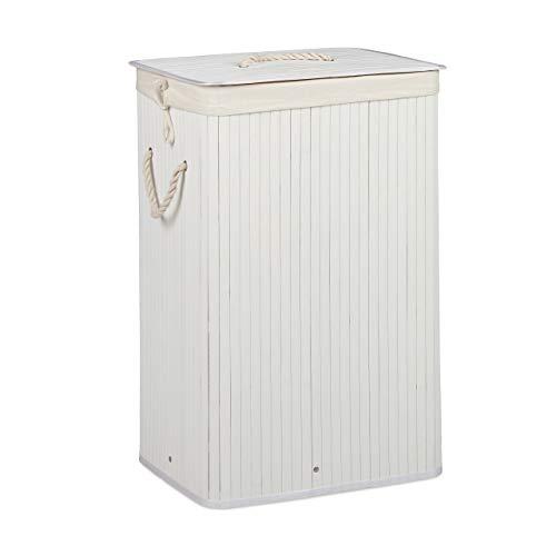 Relaxdays Wäschekorb Bambus, mit Deckel, rechteckig, XL, 83 L, faltbarer Wäschesammler, HBT: 65,5 x 43,5 x 33,5 cm, weiß