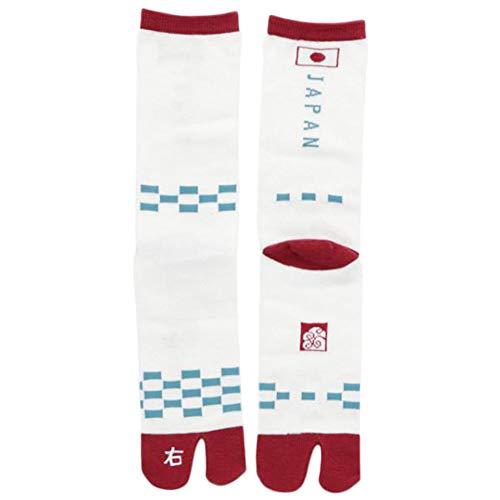 Kaya Japan Vlag voor heren en links & rechts Kanji Design Tabi Sokken (wit)