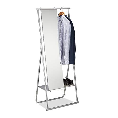 Relaxdays Metall Garderobe mit Ganzkörperspiegel, Kleiderstange & Ablage, Garderobenständer HBT 156,5x64,5x39 cm, silber