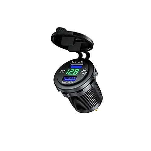 RJJX DIY 12V / 24V Cargador de automóvil USB Dual QC3.0 Toma de Corriente del Cargador con el voltímetro de LED para el Barco marítimo Carrito de Golf de la Motocicleta (Color Name : Green)