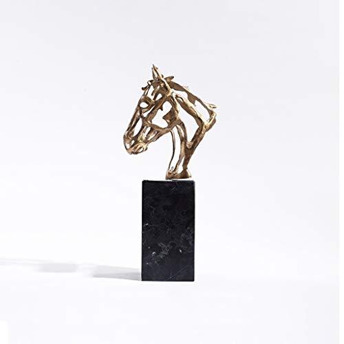 Decoración de escritorio Escultura moderna de metal, lujo luz la decoración del hogar, abstracta china del metal hueco cabeza de caballo Artesanía Estatua animal, utilizando for la oficina decoración