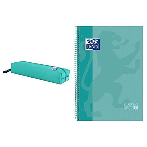 ESTUCHE OXFTEEN RECTANGULAR + Oxford cuaderno Europeanbook 1, microperforado, tapa extradura, espiral, a4 Ice Mint