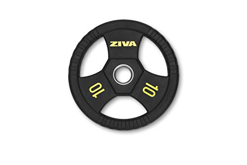 """ZIVA Performance Rubber Grip Disc Olympic 2"""" Weight Plate for Strength Training – Commercial Precision Casting, Stainless Steel Insert, Virgin Rubber Casing, Ergonomic Comfort Grip – Single, 10 lb"""