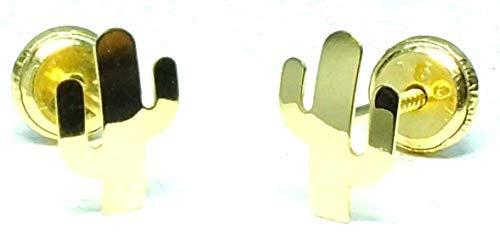 Pendientes Oro de Ley Certificado. Niña/Mujer. cactus. Cierre de seguridad. Medida 5.5x8 mm. (4-4806-6)